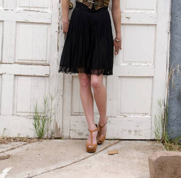 Lace Pleated Chiffon Skirt