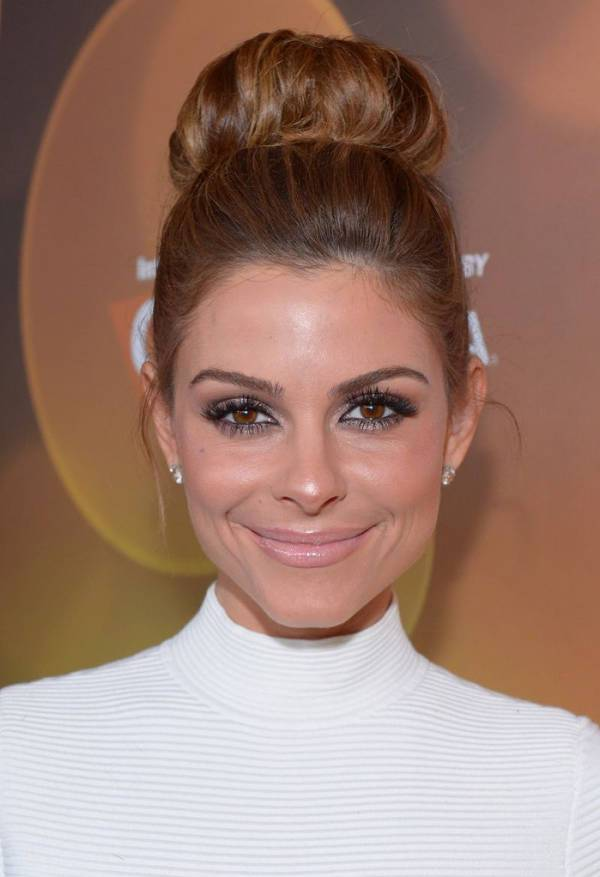 Maria Menounos Sleek Top Bun Hairstyle