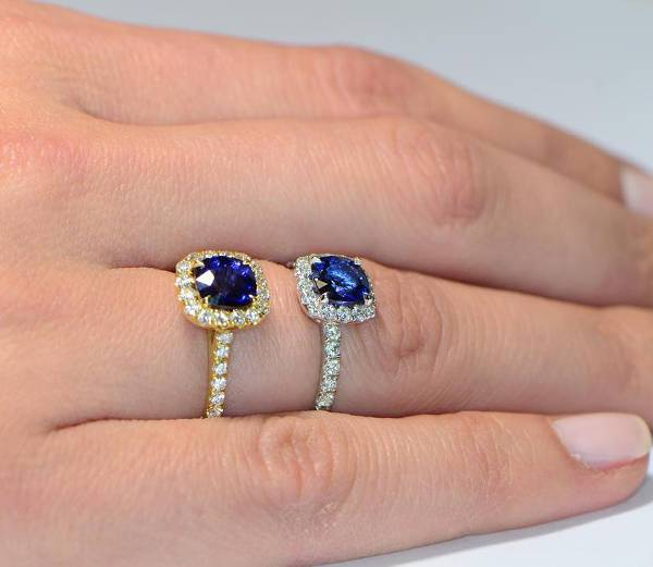 gold blue stone halo engagement ring