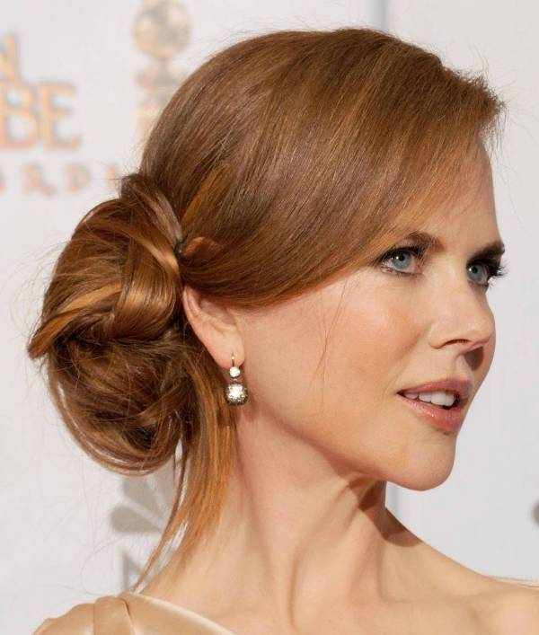 Nicole Kidman Side Bun Hairstyle with Bangs
