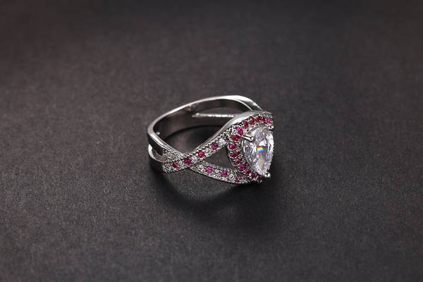 infinity halo cubic engagement ring
