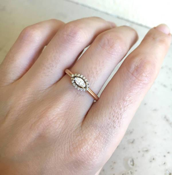 two tone halo engagement promise ring