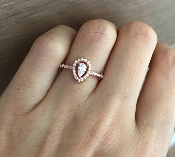 rose gold small halo engagement ring