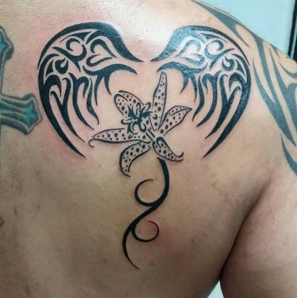 Tribal Flower Wing Tattoo