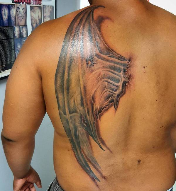 devil wing tattoo for back