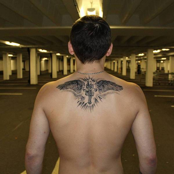 Cross Wing Tattoo On Back