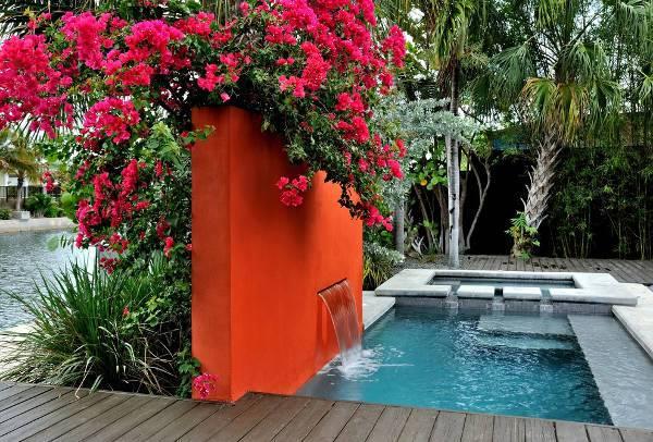 modern outdoor wall fountain
