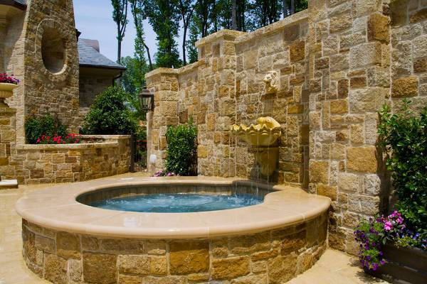 outdoor stone wall fountain
