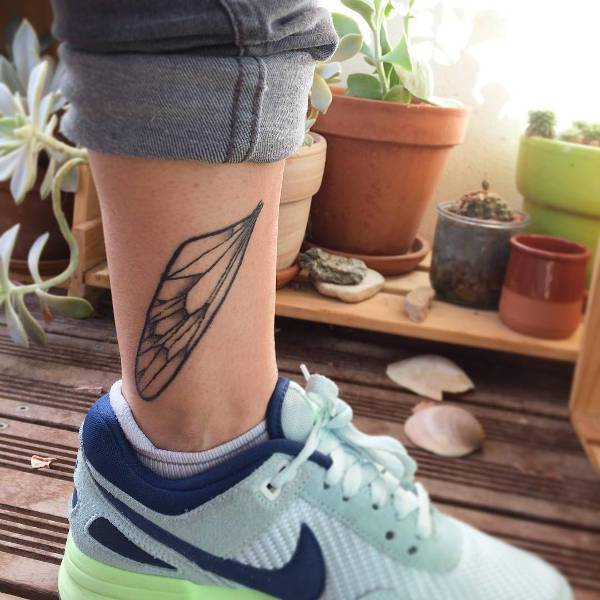 Dragonfly Wing Tattoo on Leg