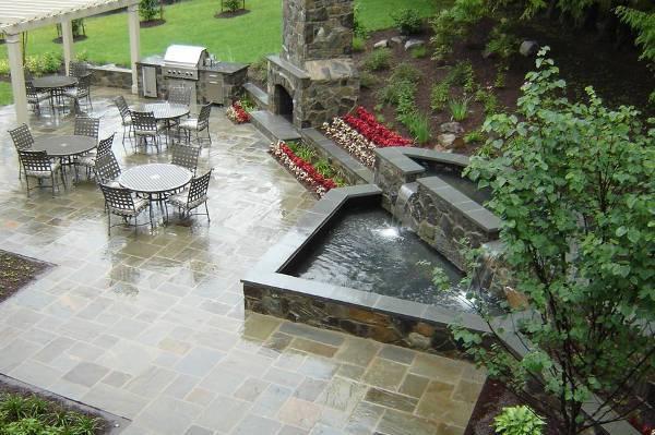 outdoor patio stone fountain