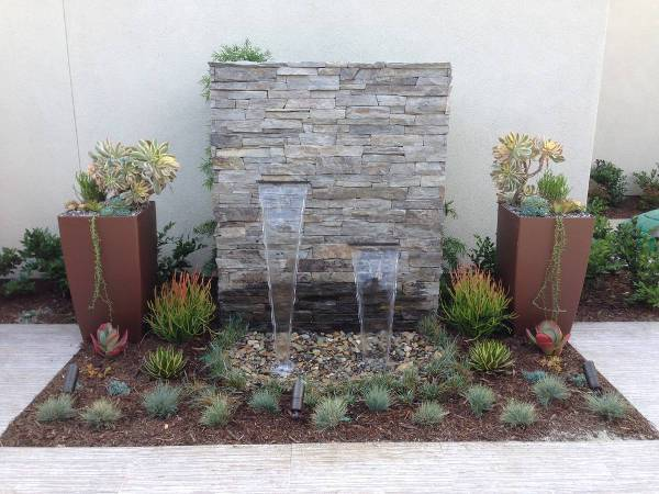 outdoor stacked stone fountain