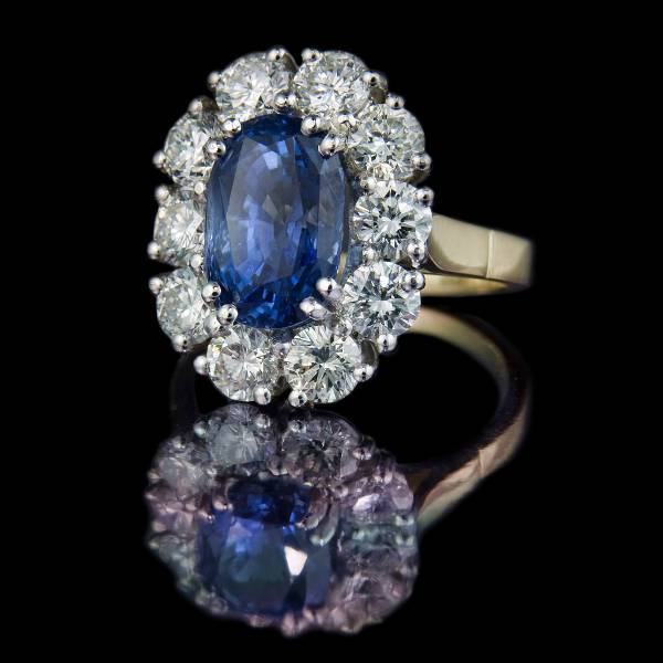 sapphire oval cluster engagement ring