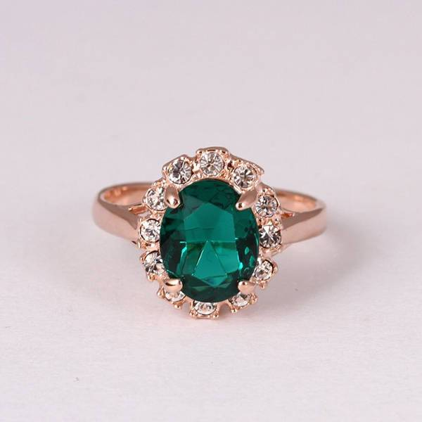 Cubic Oval Emerald Engagement Ring