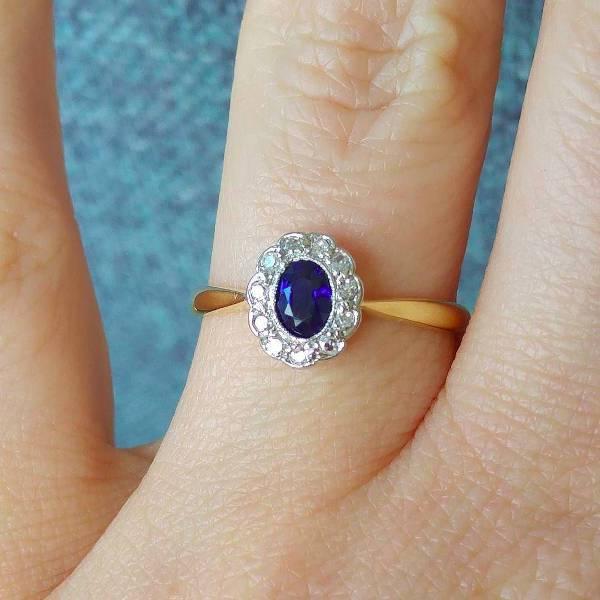 Oval Sapphire Diamond Engagement Ring