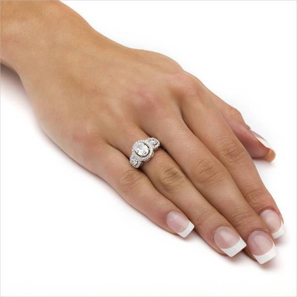 Silver Oval Platinum Engagement Ring