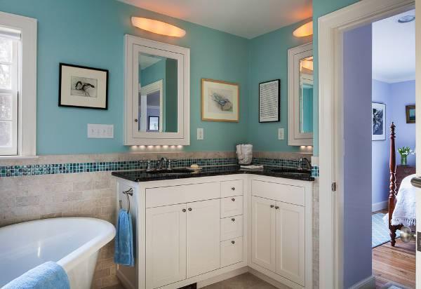Small Corner Bathroom Vanity with Storage