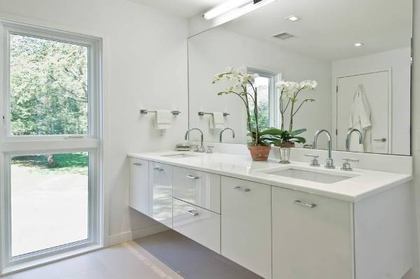 small white bathroom vanity with cabinets
