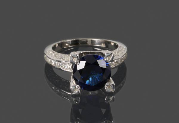 sapphire promise silver ring