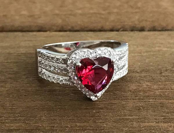 sterling silver ruby promise ring