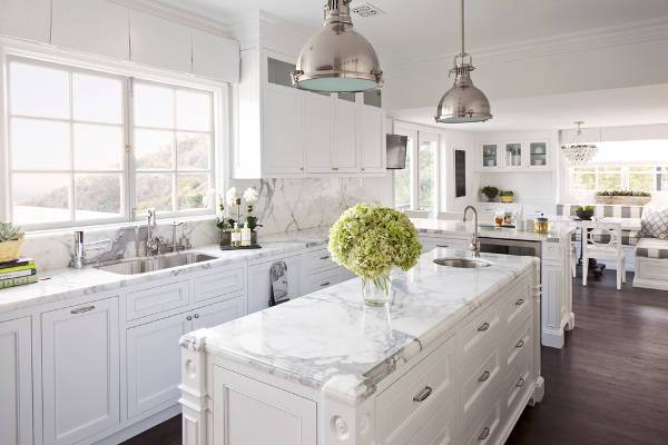 white marble kitchen countertop1
