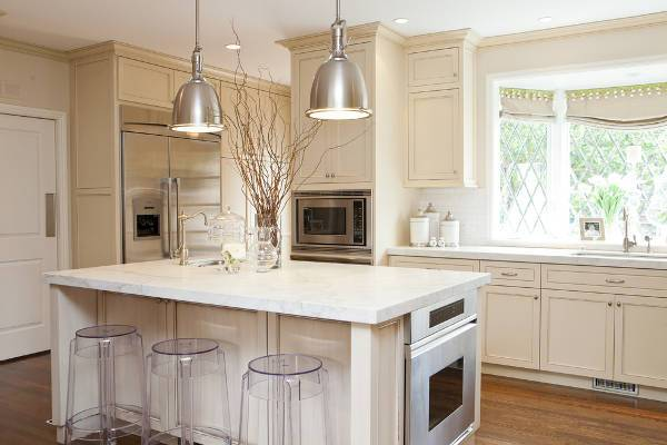 white marble countertop for kitchen island