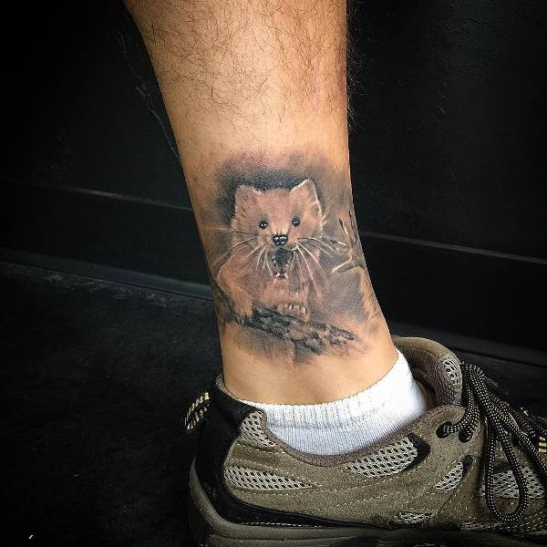 small bear tattoo for men on leg