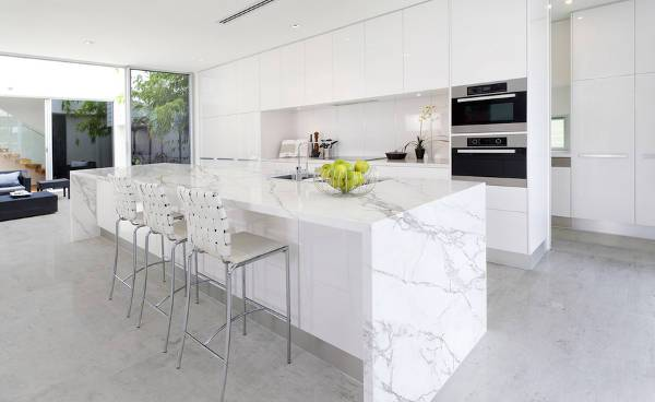 white marble laminate countertop