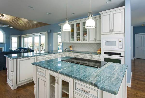 colorful blue marble countertop