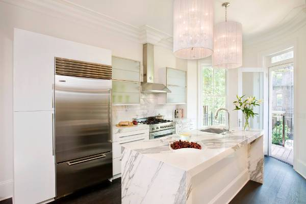 modern white marble countertop