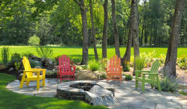 colorful outdoor wooden chairs