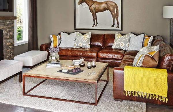 cool rustic leather sectional sofa