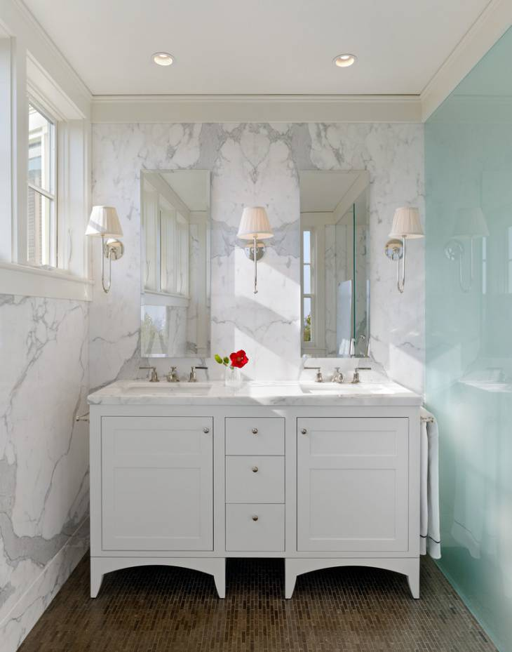 small double white vanity