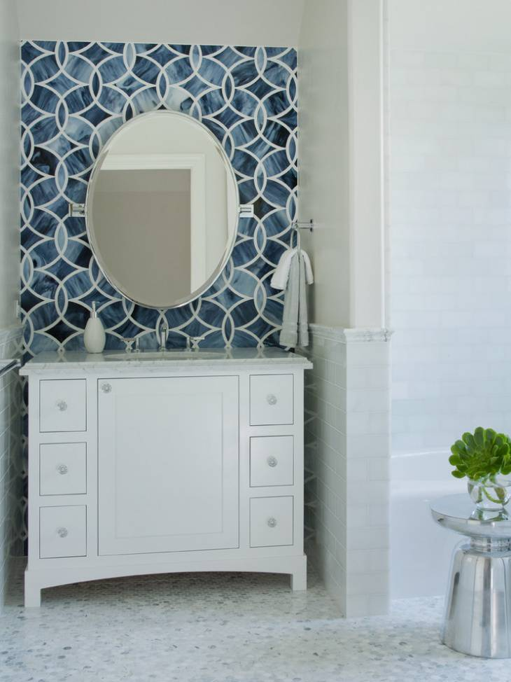 small white powder room vanity