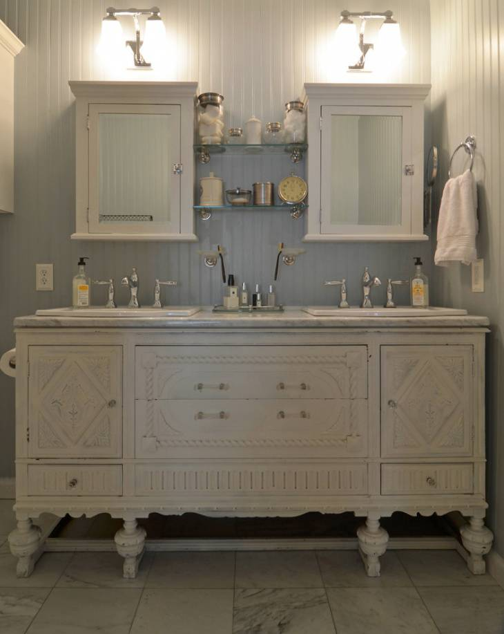 antique white vanity