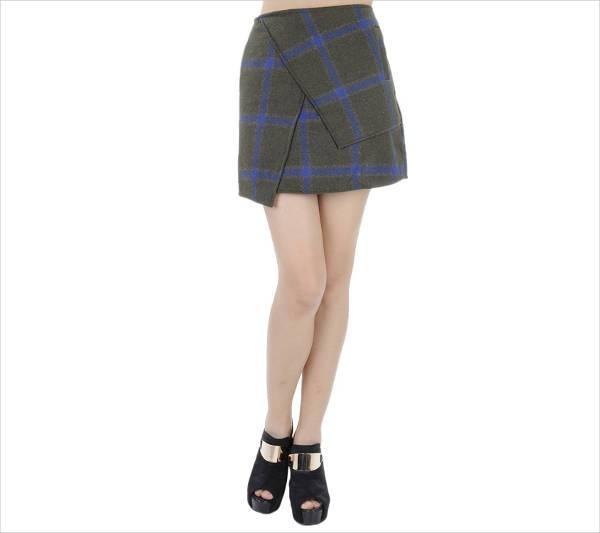 asymmetrical plaid print skirt