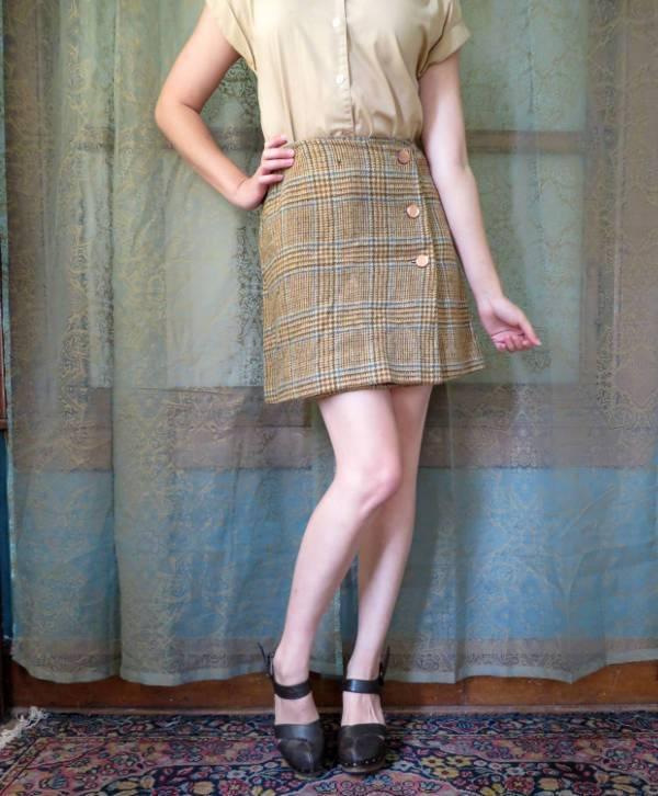 wool tweed plaid skirt