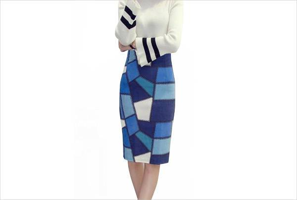 simple plaid bodycon skirt