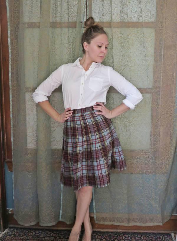 preppy pleated plaid skirt