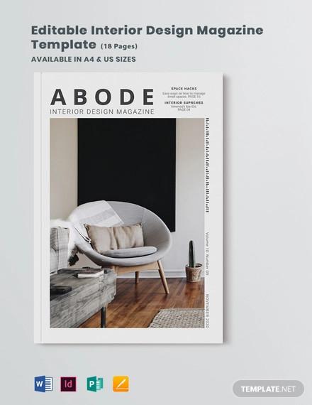editable interior design magazine template
