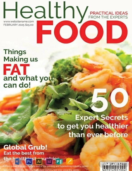 free healthy food magazine cover template