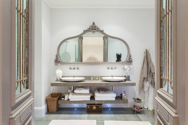 grey frame vintage mirrored vanity