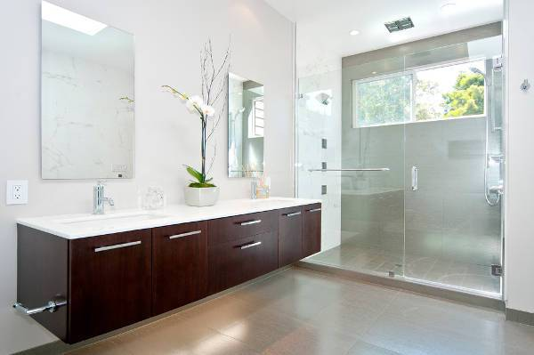 modern mirrored floating vanity