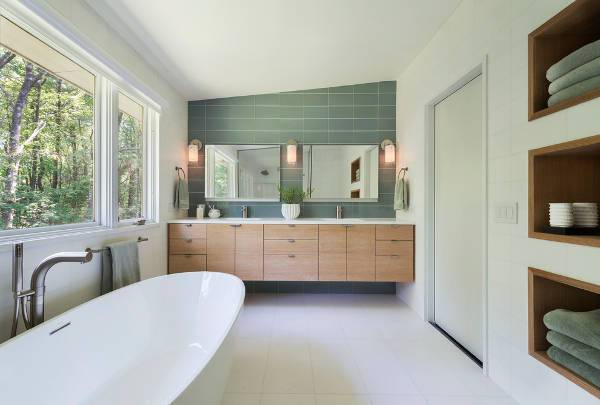 modern wall mirrored vanity
