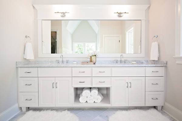 cool white mirrored vanity