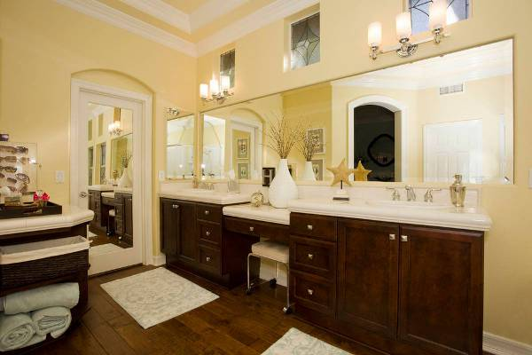 mirrored vanity with forte lighting
