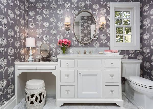 small oval shape mirrored vanity