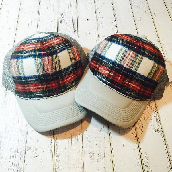 handmade plaid trucker hat