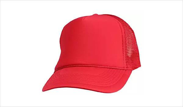 blank red trucker hat