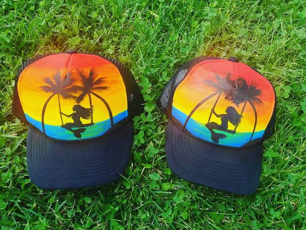 palm tree print kids trucker hat