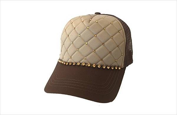 quilted trucker hat with rhinestones